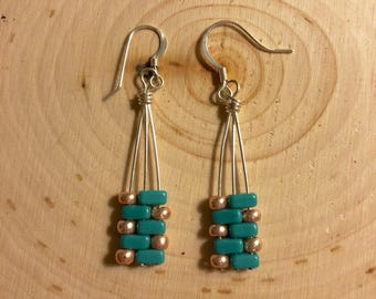 Free US shipping-Teal and rose gold tila beaded drop earrings