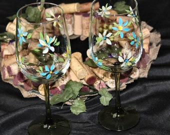Hand Painted Fun Floral Wine Glasses!