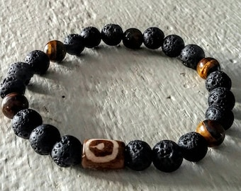 Lava, bone, Tiger eye stones.