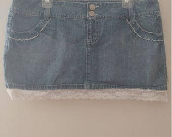 Laced Light Blue Denim Mini Skirt: Size 17