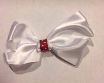 White Bow with Red Polka Dots Clip