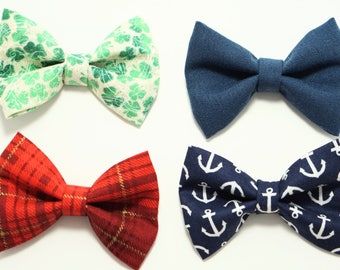 Fabric Bow Ties on Alligator Clip Newborn / Baby /  Toddler Boys