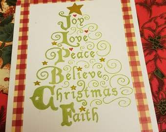 Beautiful hand coloured and stamped Christmas tree Joy Script