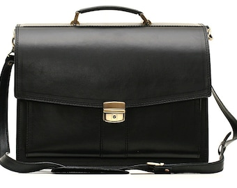 Black leather briefcase mens leather laptop bag black men leather messenger bag men leather briefcase black leather bag men leather business