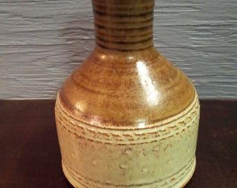 Vintage Studio Pottery Stoneware Vase Hand Painted Signed SALEM