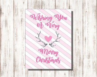 Glitter Antler, Merry Christmas Card- Digital Download