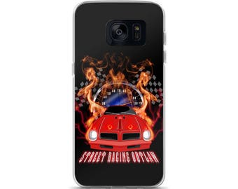 Street racing muscle car races through fire and lightning Samsung Case