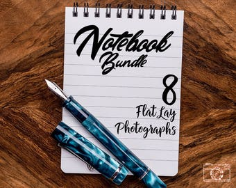 Notebook Stock Photo Bundle, Notebook Mock-up Stock Photography Bundle, Mockup Photos, Mock-up photography, Flat lay photo, Negative Space