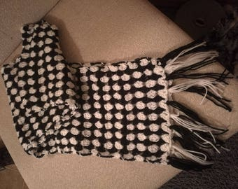 Black + White Patterned Scarf