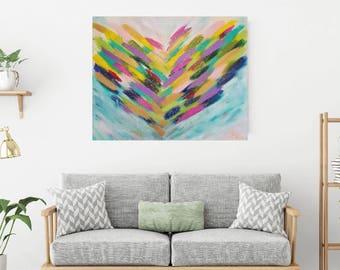 large painting, Teal painting, colorful painting, wall decor, abstract art, livingroom decor, livingroom art, nursery art, modern art