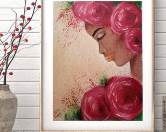 Red painting, red art, floral art, floral painting, portrait painting, black woman, black art, wall decor, framed art, floral art, art