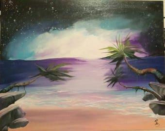 Sunset galactic 16x20 acrylic on canvas panel original