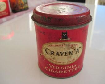 Craven A Cork Tipped Virginia Tru- Vac Cigarette Tin (50/empty) by Carerras c.1940/50