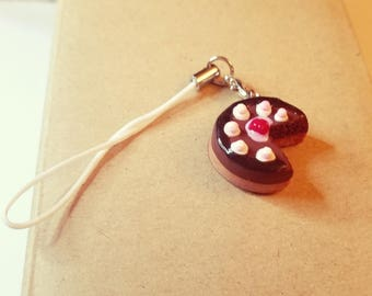 Chocolate cake polymer clay charm