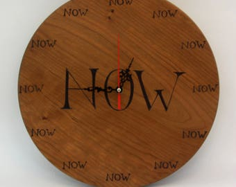 """a """"now"""" hand made wooden wall clock"""