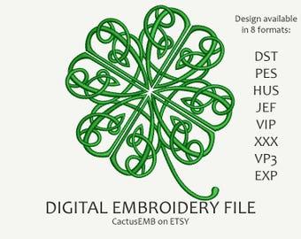 INSTANT DOWNLOAD - Four Leaf Clover embroidery design. Shamrock. Pot of Gold. Saint Patrick's Day. Irish. Leprechaun. Embroidery design