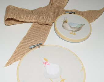 SET OF 2 - Embroidery Hoop - Birthday gift - Duck and Goose art- Baby Present - Bow embroidery - Handmade - Personalised art - Housewarming