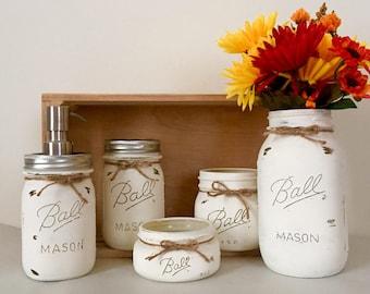 mason jar bathroom set. Antique White Mason Jar Bath Set  jar bath set Etsy