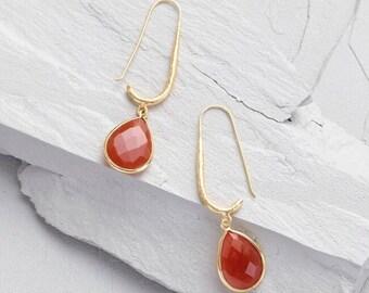 Gold And Carnelian Drop Earrings