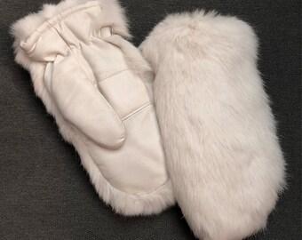 Vintage Rabbit Fur and Vinyl Mittens