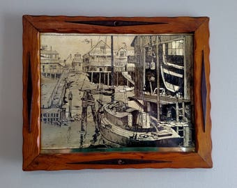 "Vintage Lionel Barrymore Gold foil etched ""Water Front"""