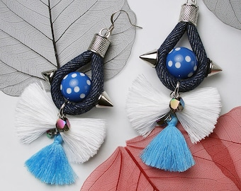 STATEMENT Denim Cord Spike Drop White Tassel Gold Earrings For Holiday Party Special Occasion