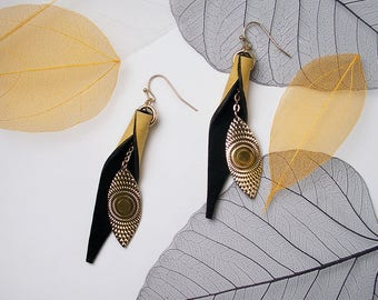 STATEMENT Leaf Sand Leather Black Suede Fashion Wrap Earrings For Special Occasion
