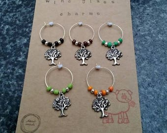 Wine glass charms with tree design