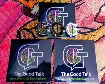 Good Talk Collector's pin FULL SET plus 3 Vinyl 4x4 stickers