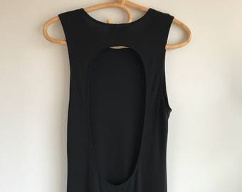 Vintage Long Black Keyhole Dress by Hobbs of London Size 14