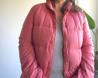Vintage 80's Pink Goose Down Puffer Jacket Size 7/8