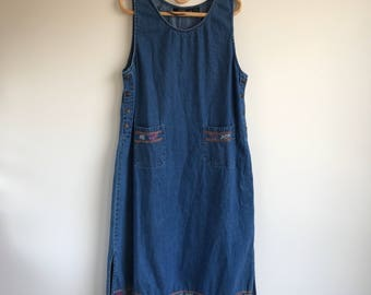 Vintage Embroidered Denim Long Plus Size Dress Size XL