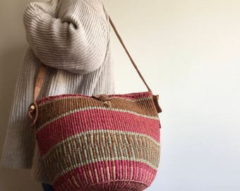 Vintage Sisal Market Tote Bag, Sisal Market Bag Leather Strap