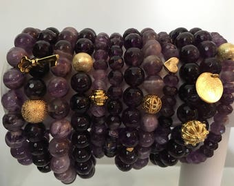 Amethyst Stackable Bracelets with Gold Charm - Natural Stone
