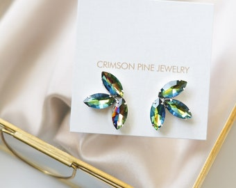 Rainbow Vitrail Earrings, Cluster Earrings, Cluster Bridal Earrings, Bridesmaids Earrings, Rainbow Earrings, Green Earrings, Marquis Cluster