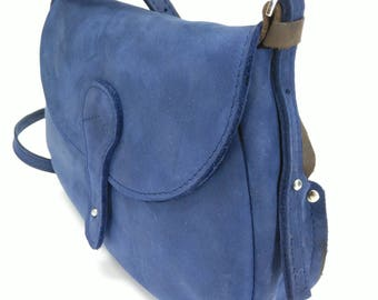 Leather saddle bag Saddle bag Blue leather tote bag Small crossbody bag Leather purse Evening bag Leather clutch bag Women leather bag
