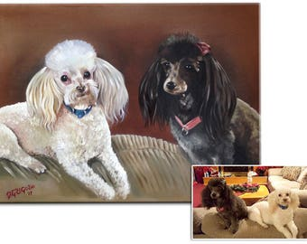 Double (two pets on one canvas) Portraits in Oils - Hand Painted From Your Photos - various sizes (not framed)