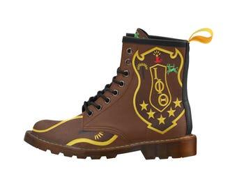 Iota Phi Theta PU Leather Martin Boots For Men