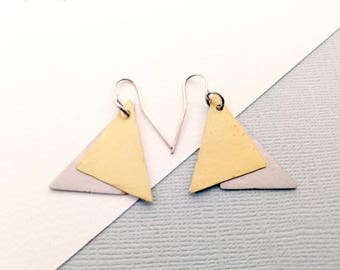 Hammered Metal Brass and Silver Dual Triangle Dangle Earrings - Rustic Luxe Boho