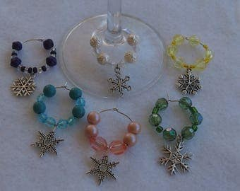 Snow Flakes Wine Charms