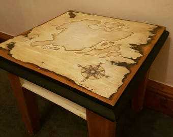 Hand painted map on a beautifully restored solid wood table with contrasting details and legs