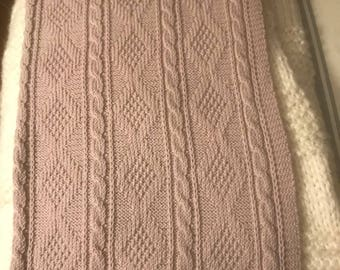Celtic cable knit baby blanket  washable merino wool