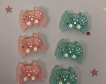 6 video Game controllers cabochons.