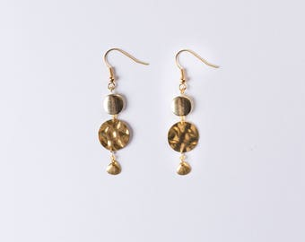 Gold Beaded Shell Dangle Earrings