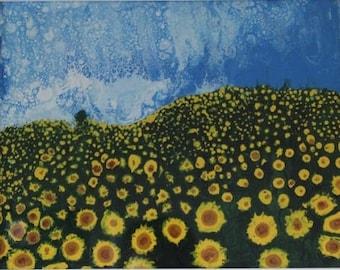 Fluid Acrylic Abstract - Sunflowers