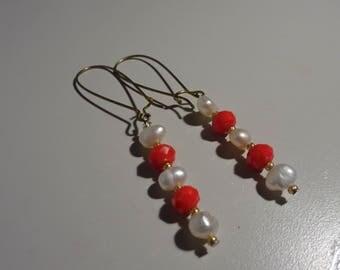 Gold, Orange, and White Earrings