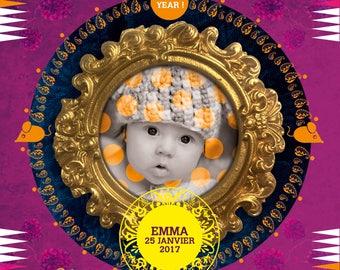 BABY GIRL, Digital art, Digital Art, icon, print, Illustration, frame for frame, decorative frame, gift, birthstone