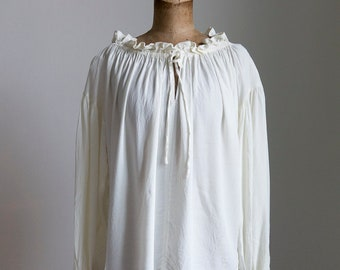 1930s style crepe blouse with poet sleeves