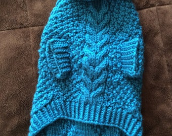 Teal Hand Knitted Dog Sweater