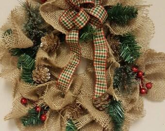 Burlap Pinecone Wreath - Small 8 in.
